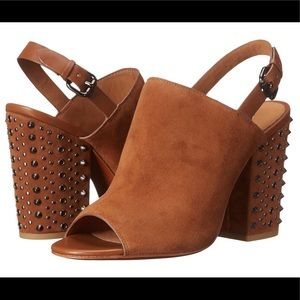 "NEW Coach ""Drew"" brown suede w/ leather trim heel"